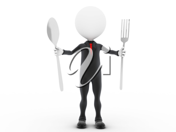 Royalty Free Clipart Image of a Man Holding a Spoon and Fork