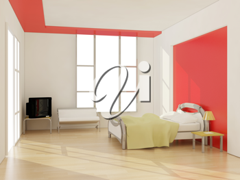 Royalty Free Clipart Image of a Modern Bedroom