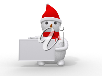 Royalty Free Clipart Image of a Snowman Holding a Sign