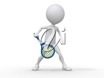 Royalty Free Clipart Image of a Figure Playing Tennis