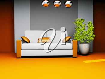 Royalty Free Clipart Image of a Waiting Room