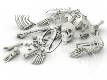 Royalty Free Clipart Image of a Skeleton in Pieces