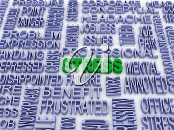Royalty Free Clipart Image of a Stress Word Cloud