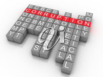 Royalty Free Clipart Image of Corruption Word Collage