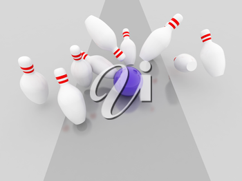 Royalty Free Clipart Image of a Bowling Strike