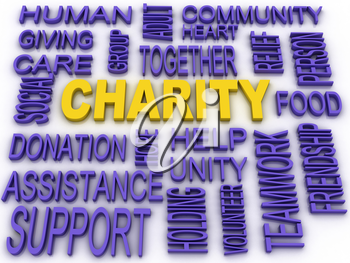 3d imagen Charity concept in word collage
