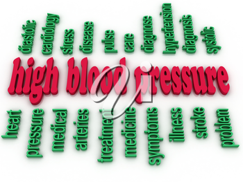 3d image High blood pressure e concept word cloud background