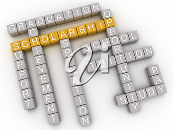 3d imagen Scholarship issues and concepts word cloud background