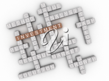 3d image Investment  issues concept word cloud background