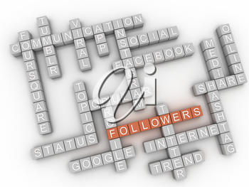 3d image Followers  issues concept word cloud background
