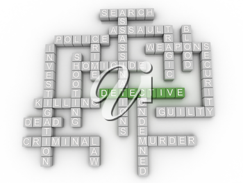 3d image Detective  issues concept word cloud background