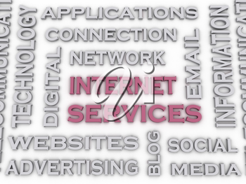 3d image Internet Service  issues concept word cloud background
