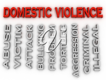 3d image Domestic violence issues concept word cloud background