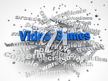 3d image Video games issues concept word cloud background
