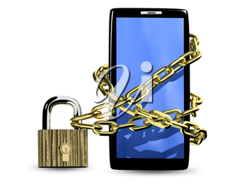 3d illustration of a smartphone in a chain on the padlock