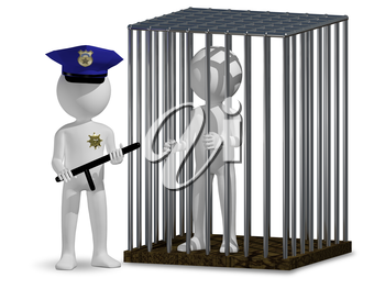 3d illustration of abstract cop and prisoner