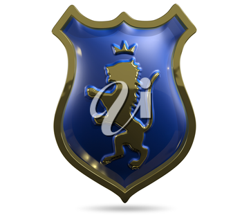 3d illustration of an abstract metallic shield with a lion