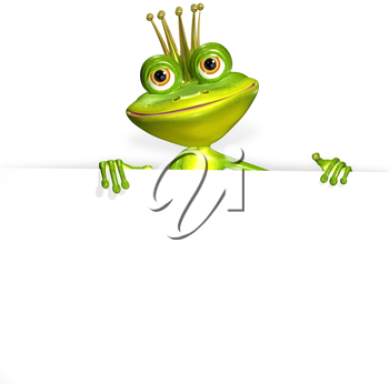 illustration merry green frog and white background