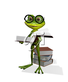 Royalty Free Clipart Image of a Frog Reading a Book