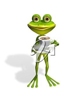Royalty Free Clipart Image of a Frog Drinking a Cup of Coffee