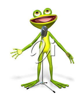 Royalty Free Clipart Image of a Frog Performing