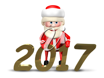 3D Illustration Jolly Santa Claus on a White Background
