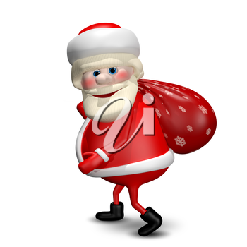 3D Illustration of Santa Claus with a Red Bag