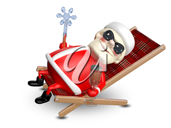 3D Illustration of Santa Claus with a Glass of Champagne in a Deckchair
