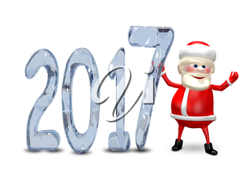 3D Illustration of Santa Claus and the Blue Ice Figures