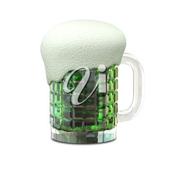 3D Illustration of a Mug with Green Beer