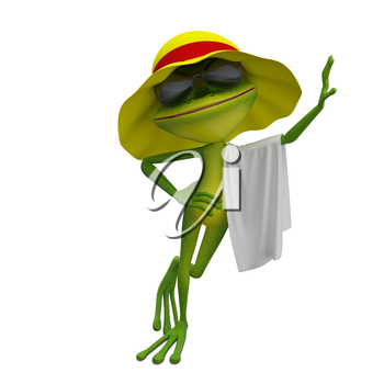 3D Illustration of the Frog in Yellow Panama with Towel on a White Background