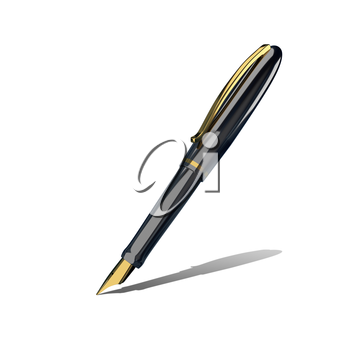 3D Illustration Pen with Golden Pen on a White Background