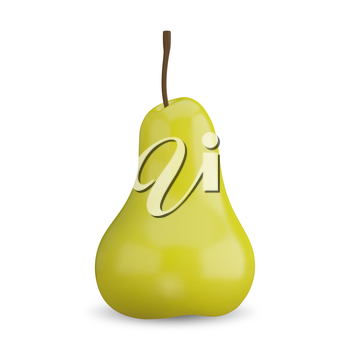 3D Illustration of a Yellow Pear on a White Background