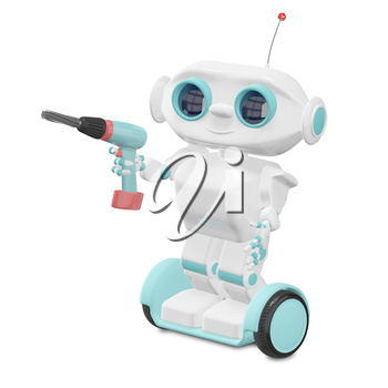 3D Illustration Little Robot with Screwdriver on a White Background