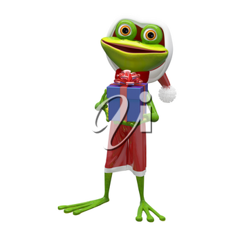 3D Illustration of a Frog with a Gift on a White Background