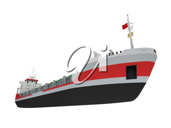 Royalty Free Clipart Image of a Cargo Ship