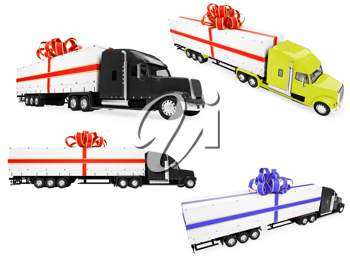 Royalty Free Clipart Image of Transport Trucks