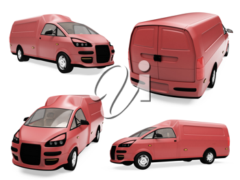 Royalty Free Clipart Image of Red Trucks