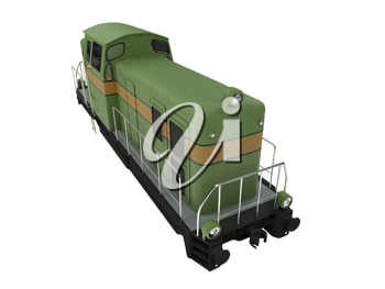 Royalty Free Clipart Image of a Green Diesel Train
