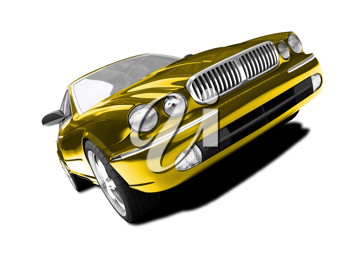 Royalty Free Clipart Image of a Gold Jaguar