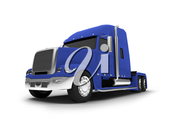 Royalty Free Clipart Image of a Blue Transport Truck