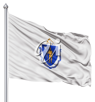 Royalty Free Clipart Image of the Flag of Massachusetts