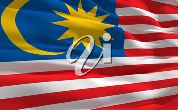 Royalty Free Clipart Image of the Flag of Malaysia