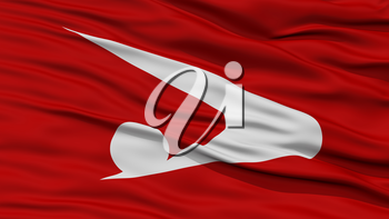 Closeup Akita Japan Prefecture Flag, Waving in the Wind, High Resolution