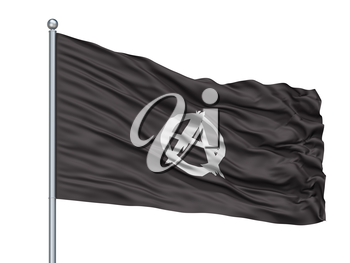 Anarchist Movement Flag On Flagpole, Isolated On White Background, 3D Rendering