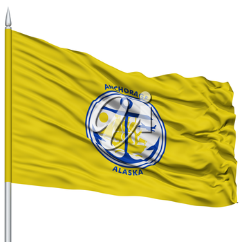 Anchorage City Flag on Flagpole, Alaska State, Flying in the Wind, Isolated on White Background