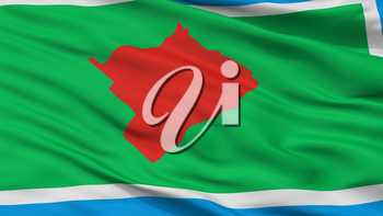 Las Flores City Flag, Country Argentina, Closeup View, 3D Rendering