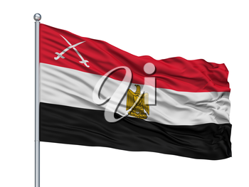 Army Of Egypt Flag On Flagpole, Isolated On White Background, 3D Rendering