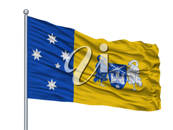 Australian Capital Territory City Flag On Flagpole, Country Australia, Isolated On White Background, 3D Rendering