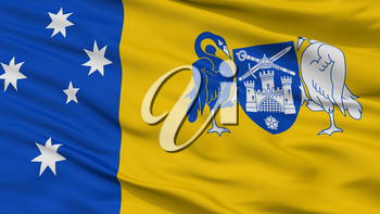 Australian Capital Territory City Flag, Country Australia, Closeup View, 3D Rendering